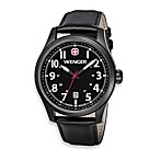Wenger® Men's Terragraph Watch with PVD case and Leather Band in Black