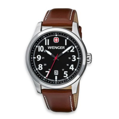 Wenger® Terragraph Stainless Stainless Steel Case and Brown Leather Band Watch