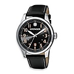 Wenger® Terragraph Stainless Steel Case Grey Dial and Black Leather Band Watch