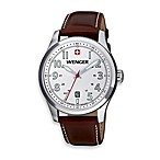 Wenger® Men's Terragraph White Dial Stainless Steel Case and Brown Leather Band Watch