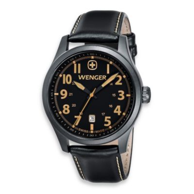 Wenger® Men's Terragraph Black/Tan Dial Stainless Steel PVD Case and Black Leather Band Watch