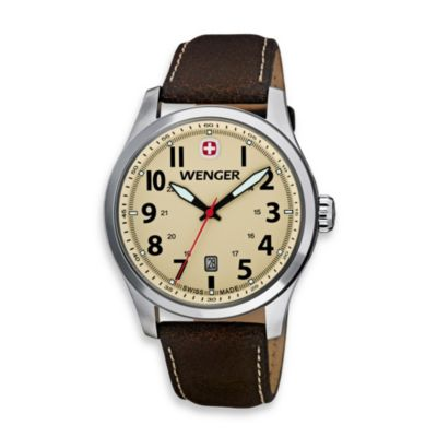 Wenger® Men's Terragraph Sand Dial w/Distressed Brown Leather Band Watch
