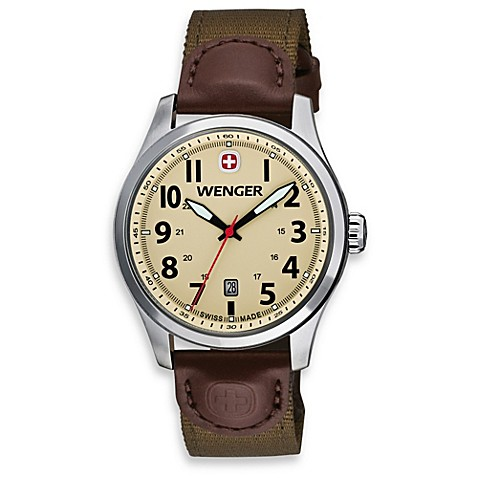 Wenger® Men's Terragraph Sand Dial w/Olive Nylon and Brown Leather Band Watch