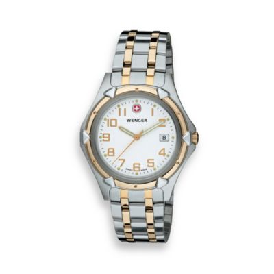 Wenger® Men's White Dial Two-Tone Stainless Steel Watch
