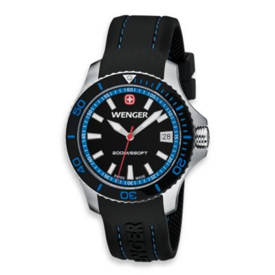 Wenger® Ladies Sea Force Rubber Strap/Blue Accents Watch