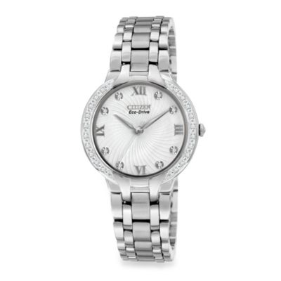 Citizen Ladies Eco-Drive Bella Diamond Accent Stainless Steel Bracelet