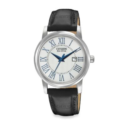Citizen Ladies Eco-Drive with Black Leather Strap