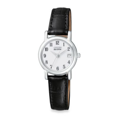 Citizen Ladies Eco-Drive Silhouette Stainless Steel with Black Leather Strap