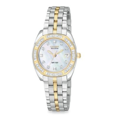 Citizen Ladies Eco-Drive Paladion Two-Tone Stainless Bracelet w/Diamond and Mother-of-Pearl Watch