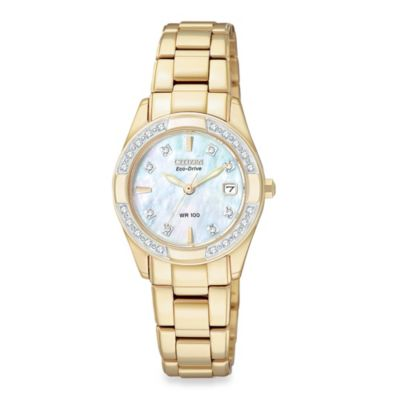 Citizen Ladies Eco-Drive Regent Gold-Tone SS Bracelet w/Diamond and Mother-of-Pearl Dial Watch