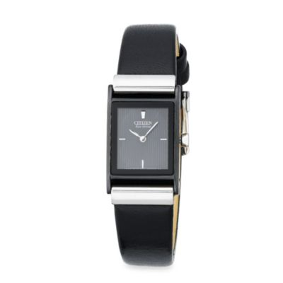 Citizen Ladies Eco-Drive Black Stainless Steel Black Leather Strap Watch