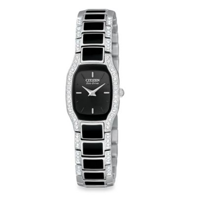 Citizen Ladies Eco-Drive Normandie Black and Silver Two-Tone Stainless Bracelet Watch
