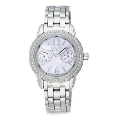 Citizen Ladies Eco-Drive Silhouette Stainless Steel Bracelet with Swarovski® Crystals