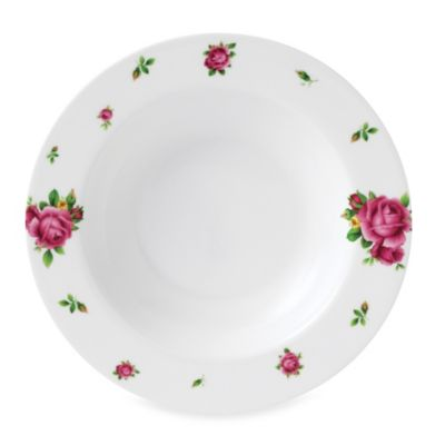 New Country Roses White 9.4-Inch Casual Soup/Salad Bowl