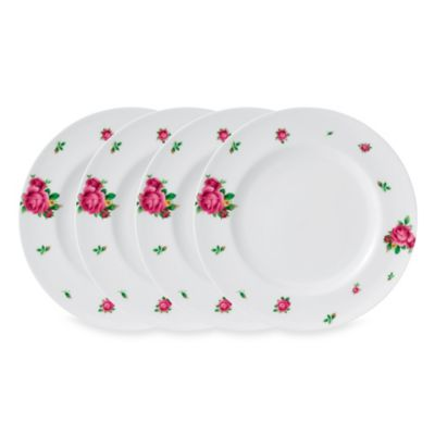 New Country Roses White 10.6-Inch Casual Dinner Plate Set of 4