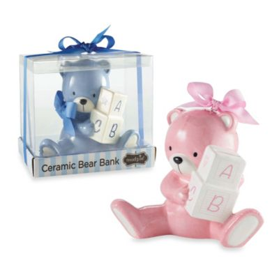 Mud Pie® Bear Piggy Bank in Pink