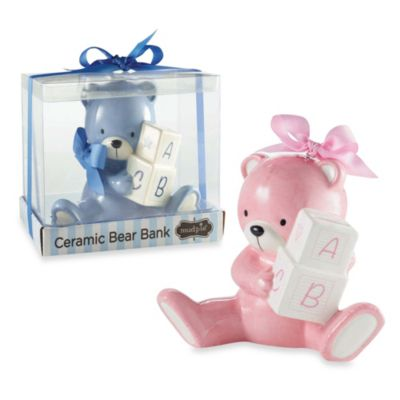 Ceramic Bear Tooth and Curl Keepsake Boxes (Set of 2)