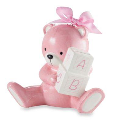 Mud Pie® Bear Piggy Bank in Pink