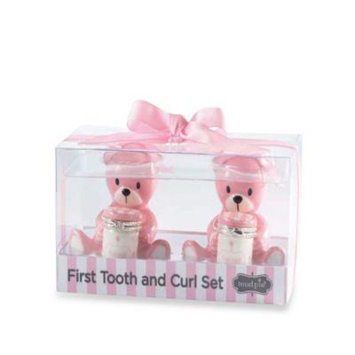 Mud Pie® Ceramic Bear Tooth and Curl Keepsake Boxes in Pink (Set of 2)