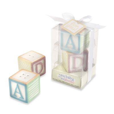 Kate Aspen® New Baby on the Block Ceramic Baby Blocks Salt & Pepper Shaker Set