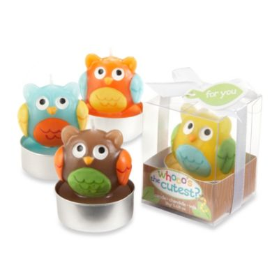 "Kate Aspen® Baby Owl ""Whooo's the Cutest"" Assorted Candles (Set of 4)"