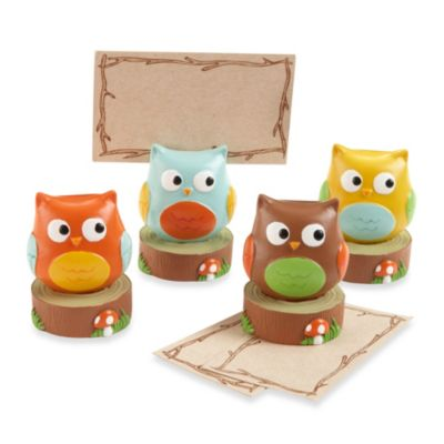 "Kate Aspen® Baby Owl ""Whoo's the Cutest"" Assorted Place Card/Photo Holders (Set of 4)"