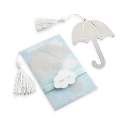 "Baby Aspen ""Showers of Love"" Umbrella Bookmark with White-Silk Tassel"