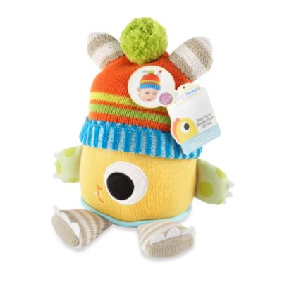 Baby Aspen Clyde the Monster Plush Toy & Knit Baby Hat Gift Set