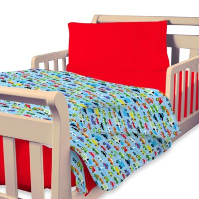 Just for Kids by Global Home Living Bright Cars 4-Piece Toddler Bedding Set