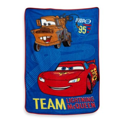 "Crown Crafts Disney® CARS ""Taking the Race"" Fleece Blanket in Coral"