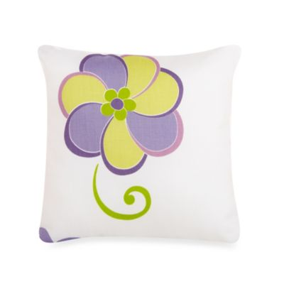 Glenna Jean Lulu Flower Print Throw Pillow in White