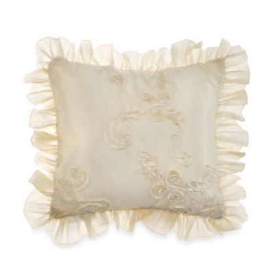 Glenna Jean Ava Ribbon Throw Pillow in Cream