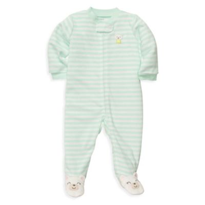 Carter's® Terry Zip-Up Sleep & Play in Mint Bear