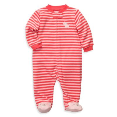 Carter's® Terry Zip-Up Sleep & Play in Coral Stripe Cat