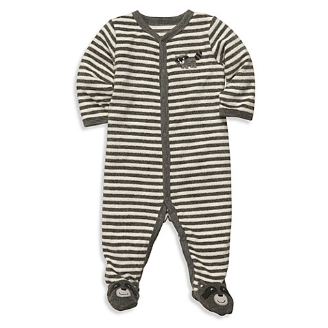 Carter's® Size 9 Months Terry Snap-Up Sleep & Play in Grey Stripe Raccoon
