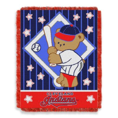 MLB Cleveland Indians Woven Jacquard Baby Blanket/Throw