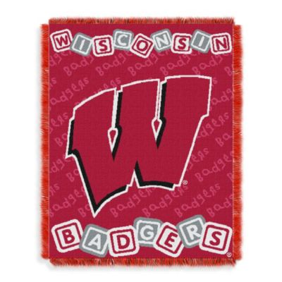 NCAA University of Wisconsin Woven Jacquard Baby Blanket/Throw