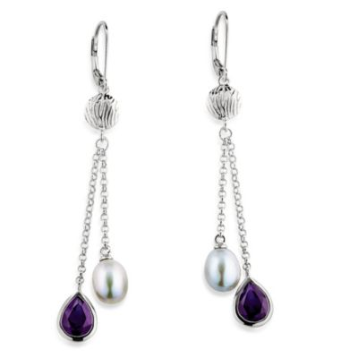 ELLE Jewelry Shades of Grey 8.5-9.0MM Grey Cultured Pearl & Amethyst Earring
