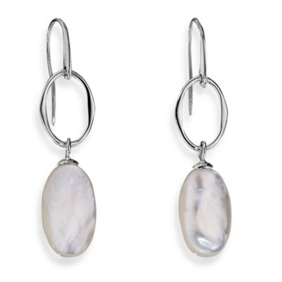 ELLE Jewelry Harmony Sterling Silver Mother of Pearl Eurowire Earrings