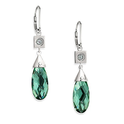 ELLE Jewelry Ethereal Sterling Silver Created Green Quartz Earrings