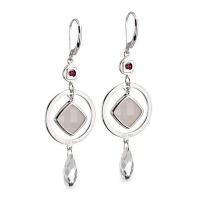 ELLE Jewelry Empire Sterling Silver Rose Quartz & White Crystal Earrings