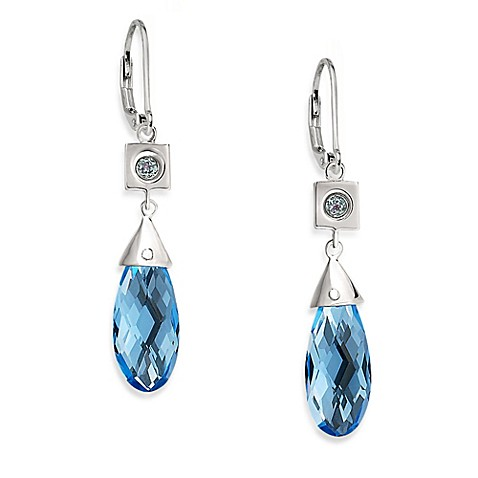 ELLE Jewelry Paradise Sterling Silver Created Blue Quartz Earrings