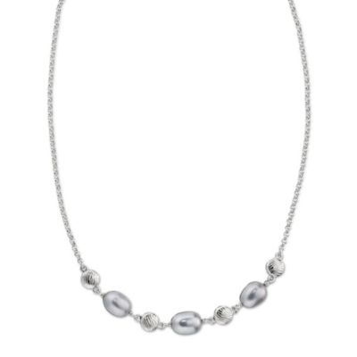 ELLE Jewelry Shades of Grey Sterling Silver 9.5-10.0MM Grey Pearl 18-Inch Necklace