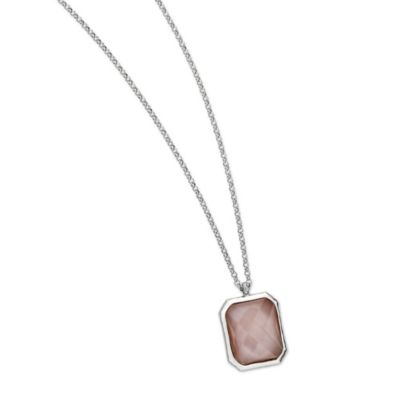 ELLE Jewelry Sunrise Sterling Silver w/Pink Mother of Pearl 18-Inch Necklace