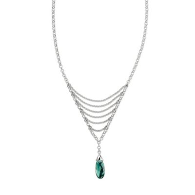 ELLE Jewelry Ethereal Sterling Silver Created Green Quartz 20-Inch Necklace