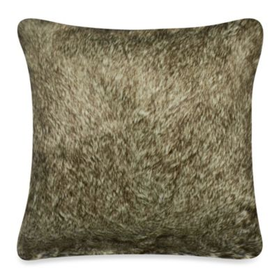 Luxury Fur Square Toss Pillow in Chocolate
