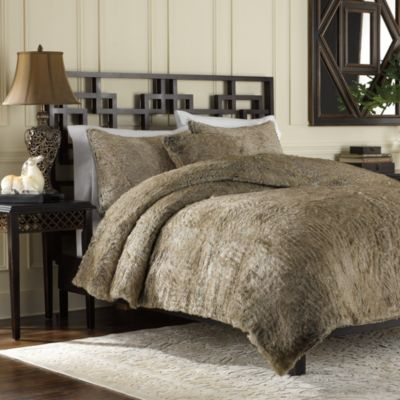 Luxury Fur Duvet Cover and Sham Set in Tan