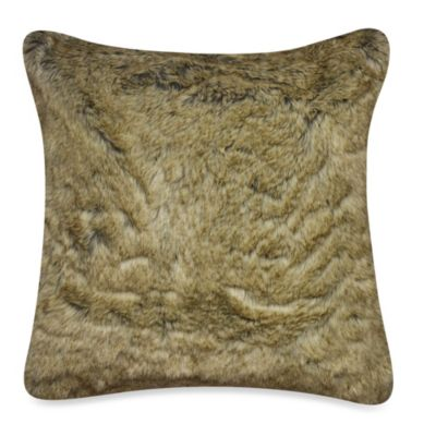 Luxury Fur Square Toss Pillow in Tan