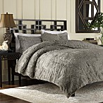 Luxury Fur Twin Duvet Cover and Sham Set in Grey