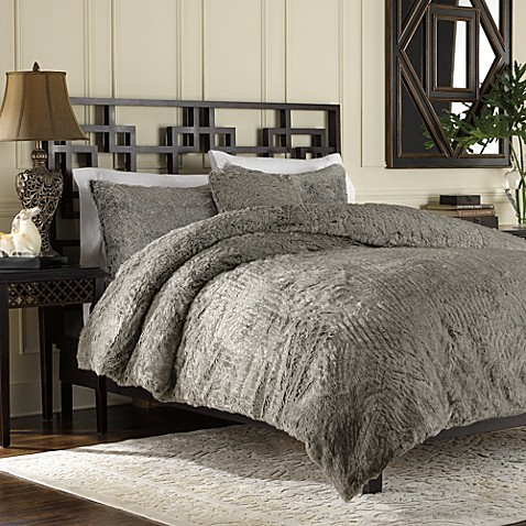 Luxury Fur Duvet Cover and Sham Set in Grey